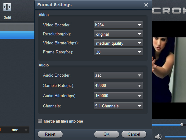 Canon Video Converter - Settings